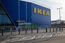 © Licensed to London News Pictures. 01/06/2020. London, UK. Barriers have been erected outside a branch of Ikea in Greenwich ahead of the reopening later today. The store has been closed since lockdown began in March. Photo credit: George Cracknell Wright/LNP