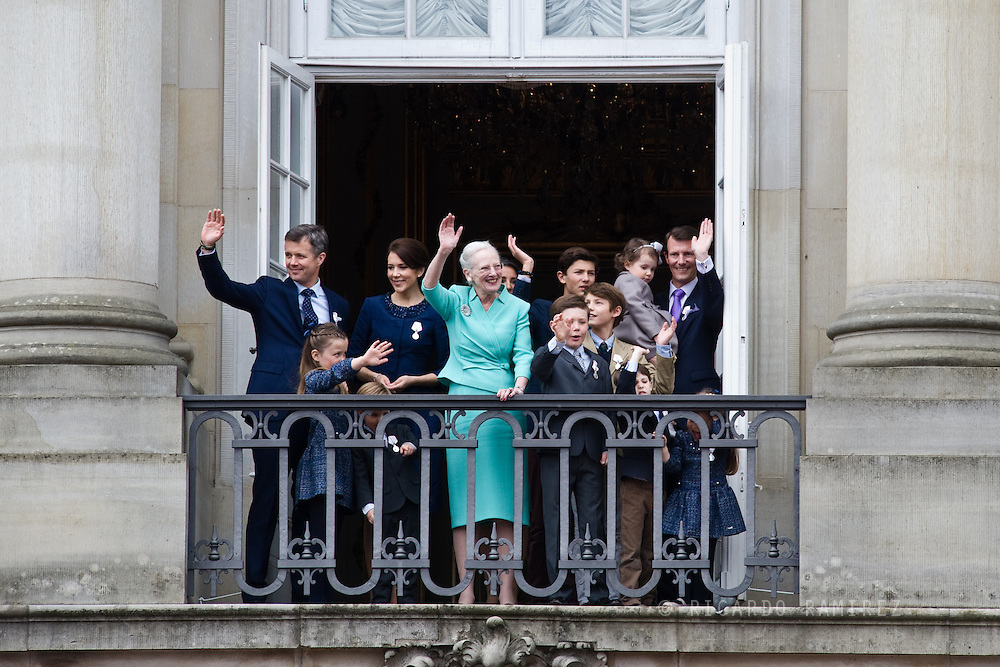 16.04.2015. Copenhagen, Denmark.<br /> Queen Margrethe II celebrates her 75th birthday with her whole family, From left to right Crown Prince Frederik, Princess Isabella, Crown Princess Mary, Prince Vincent, Prince Christian, Prince Nikolai, Prince Felix, Prince Henrik, Princess Athena Prince Joachim and Princess Josephine wave on the balcony of Amalienborg Palace.<br /> Photo:© Ricardo Ramirez