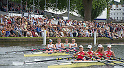 Henley on Thames. United Kingdom. Princess Grace Challenge Cup, Reading RC and Leander Club. passing through the Stewards Enclosure. 2016. 2016 Henley Royal Regatta, Henley Reach.   [Mandatory Credit Intersport Images]