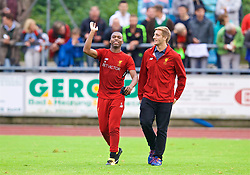 ROTTACH-EGERN, GERMANY - Friday, July 28, 2017: Liverpool's Daniel Sturridge and press officer Joe Eshmade during a training session at FC Rottach-Egern on day three of the preseason training camp in Germany. (Pic by David Rawcliffe/Propaganda)