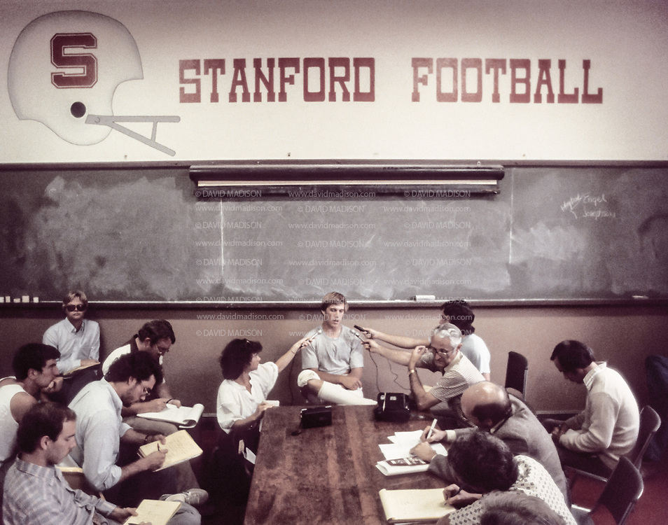 Stanford Quarterback John Elway particpates in a post game press conference in October 1982 at Stanford University in Palo Alto, California.  Photo by David Madison   www.davidmadison.com