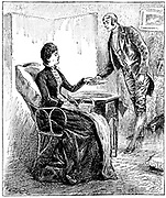 Footman presenting a card that a caller has left for his mistress. Wood engraving, London, 1888