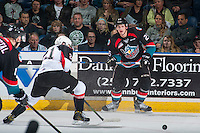 KELOWNA, CANADA - SEPTEMBER 28: Cal Foote #25 of Kelowna Rockets passes the puck against the Prince George Cougars on September 28, 2016 at Prospera Place in Kelowna, British Columbia, Canada.  (Photo by Marissa Baecker/Shoot the Breeze)  *** Local Caption *** Cal Foote;
