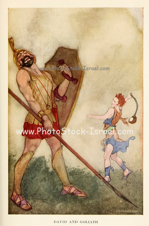David and Goliath From the Book ' Bible stories to read and tell : 150 stories from the Old Testament, with references to the Old and New Testaments ' Illustrated by Willy Pogany [William Andrew Pogany (born Vilmos András Pogány; August 24, 1882 – July 30, 1955) was a prolific Hungarian illustrator of children's and other books.] Stories edited by Olcott, Frances Jenkins Published in Boston by Houghton Mifflin Company in 1916