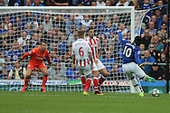 Romelu Lukaku of Everton (r) shoots wide of goal. Premier league match, Everton v Stoke city at Goodison Park in Liverpool, Merseyside on Saturday 27th August 2016.<br /> pic by Chris Stading, Andrew Orchard sports photography.