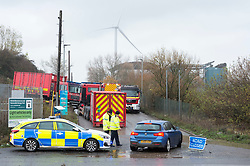 © Licensed to London News Pictures; 03/12/2020; Bristol, UK. Explosion in Avonmouth. Emergency services can be seen at the site of an explosion at Kings Weston Lane with a storage tank that appears badly damaged (right of picture). There are reports of multiple casualties. Photo credit: Simon Chapman/LNP.