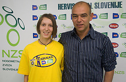Maja Zugec, 12th player of NK Domzale and Darko Birjukov, coach of NK Domzale during press conference of Hervis Cup 2011, on May 23, 2011 in Stozice, Ljubljana, Slovenia. NK Domzale and NK Maribor will play in the Final of Hervis Cup 2011 at Stozice Stadium.  (Photo By Vid Ponikvar / Sportida.com)