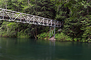 Bridge over Chilliwack River and Chilliwack Lake.  The bridge is part of the Trans Canada Trail and is also the start of the Radium Lake Trail up Mount Webb.  Photographed in Chilliwack Lake Provincial Park, British Columbia, Canada.