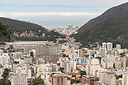 The Flamengo neighborhood looking toward Copacabana seen from the hillside in the Favela Santa Marta in Rio de Janeiro, Brazil.
