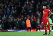 Nathaniel Clyne of Liverpool reacts after the Premier League match at Anfield Stadium, Liverpool. Picture date: December 11th, 2016.Photo credit should read: Lynne Cameron/Sportimage