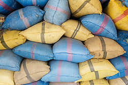 Colorful sacks of grain, Fes al Bali medina, Fes, Morocco