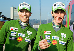 Jurij Tepes, Peter Prevc prior to the departure of a train Ljubljana - Jesenice where will be placed press conference of Slovenian Ski jumping team, on March 18, 2015 in Ljubljana train station, Slovenia. Photo by Vid Ponikvar / Sportida