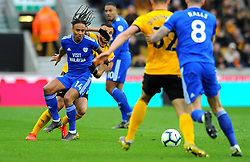 Bobby Reid of Cardiff City holds off Romain Saiss of Wolverhampton Wanderers- Mandatory by-line: Nizaam Jones/JMP - 02/03/2019 - FOOTBALL - Molineux - Wolverhampton, England -  Wolverhampton Wanderers v Cardiff City - Premier League