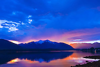 Sunset on the Wrangell Narrows, Inside Passage, near Petersburg, southeast Alaska USA