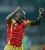 Photo: Steve Bond/Richard Lane Photography.<br />Guinea v Morocco. Africa Cup of Nations. 24/01/2008. bobo Balde celebrates victory