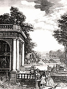 Frontispiece of of 'Architecture Hydraulique' by Bernard Forest de Belidor (Paris 1737), showing pump house containing the machinery for raising water supply for fountains and canals in a landscape garden. Belidor (1698-1761) French military and civil engineer, born in Spain.