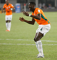 Photo: Steve Bond/Richard Lane Photography.<br />Nigeria v Ivory Coast. Africa Cup of Nations. 21/01/2008. Kolo Toure cannot believe he's missed
