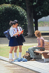 Girls Practicing English With Foreigner