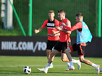 ARLAMOW, POLAND - MAY 30: Robert Lewandowski and Sebastian Szymanski during a training session of the Polish national team at Arlamow Hotel during the second phase of preparation for the 2018 FIFA World Cup Russia on May 30, 2018 in Arlamow, Poland. MB Media