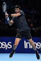 Tennis - 2018 Nitto ATP Finals at The O2 - Day Eight<br /> <br /> Final Singles: Novak Djokovic (SRB) vs. Alexander Zverev (GER)<br /> <br /> Djokovic hits a backhand.<br /> <br /> COLORSPORT/ASHLEY WESTERN