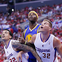 21 April 2014: Golden State Warriors center Jermaine O'Neal (7) vies for the rebound with Los Angeles Clippers forward Blake Griffin (32) and Los Angeles Clippers forward Matt Barnes (22) during the Los Angeles Clippers 138-98 victory over the Golden State Warriors, during Game Two of the Western Conference Quarterfinals of the NBA Playoffs, at the Staples Center, Los Angeles, California, USA.