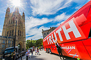 The Brexit 'Vote Leave' battle bus (used by Boris Johnson) has been acquired by Greenpeace was re-branded outside Parliament. The £350m NHS claim was covered with thousands of questions for the new government from Leave and Remain voters – many of them about what Brexit means for the environment. The questions, written on stickers, are forming a montage that will spell out the words 'TIME FOR TRUTH' in huge white letters on the side of the bus. The bus was parked by Old Palace Yard, Westminster.