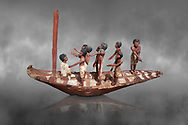 Ancient Egyptian model of a boat with mast, Middle Kingdom (1980-1700 BC. Egyptian Museum, Turin. Grey Background.<br /> <br /> Wooden tomb models were an Egyptian funerary custom throughout the Middle Kingdom in which wooden figurines and sets were constructed to be placed in the tombs of Egyptian royalty. .<br /> <br /> If you prefer to buy from our ALAMY PHOTO LIBRARY  Collection visit : https://www.alamy.com/portfolio/paul-williams-funkystock/ancient-egyptian-art-artefacts.html  . Type -   Turin   - into the LOWER SEARCH WITHIN GALLERY box. Refine search by adding background colour, subject etc<br /> <br /> Visit our ANCIENT WORLD PHOTO COLLECTIONS for more photos to download or buy as wall art prints https://funkystock.photoshelter.com/gallery-collection/Ancient-World-Art-Antiquities-Historic-Sites-Pictures-Images-of/C00006u26yqSkDOM