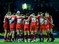 Leicester Tigers players huddle at half time<br /> <br /> Photographer Simon King/Replay Images<br /> <br /> European Rugby Challenge Cup Round 2 - Cardiff Blues v Leicester Tigers - Saturday 23rd November 2019 - Cardiff Arms Park - Cardiff<br /> <br /> World Copyright © Replay Images . All rights reserved. info@replayimages.co.uk - http://replayimages.co.uk