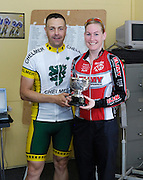 UK, Chelmsford, 28 June 2009: EMILIE FISHER (LS) XRT/ELMY CYCLES LS is presented with the trophy for posting the fastest female time in the  Chelmer Cycle Club's Open Time Trial Event on the E9 / 25 course. Photo by Peter Horrell / http://peterhorrell.com .