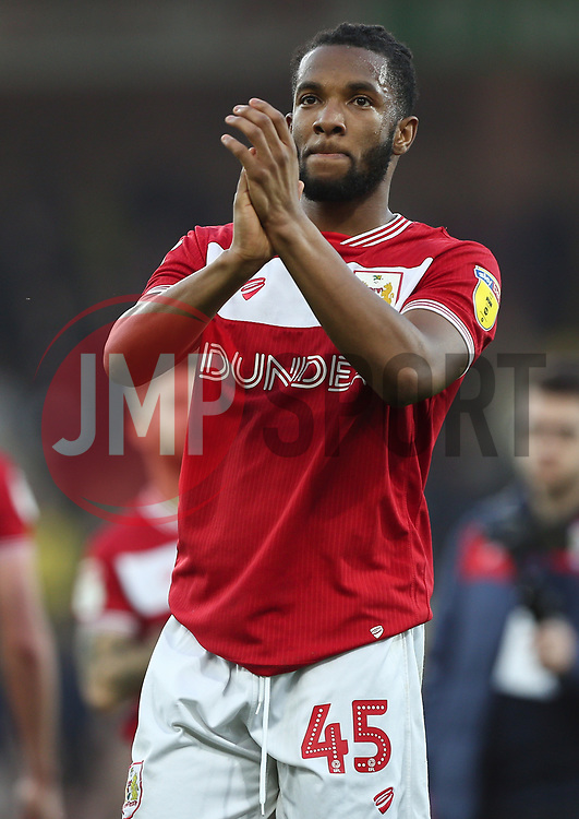 Kasey Palmer of Bristol City applauds the travelling fans - Mandatory by-line: Arron Gent/JMP - 23/02/2019 - FOOTBALL - Carrow Road - Norwich, England - Norwich City v Bristol City - Sky Bet Championship