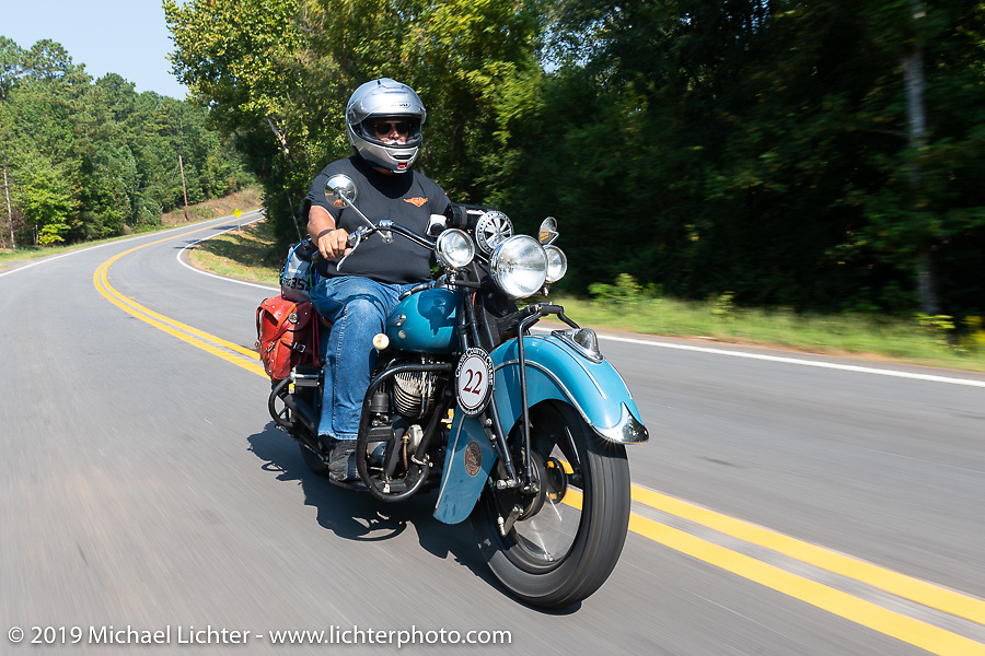 Don Gilmore riding his 1940 Indian Chief in the Cross Country Chase motorcycle endurance run from Sault Sainte Marie, MI to Key West, FL. (for vintage bikes from 1930-1948). Stage-6 from Chattanooga, TN to Macon, GA USA covered 258 miles. Wednesday, September 11, 2019. Photography ©2019 Michael Lichter.