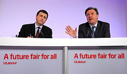 © under license to London News Pictures. 20/01/11.  Ed Miliband MP, Leader of the Labour Party, today appointed Douglas Alexander the Shadow Foreign Secretary. PICTURED: Douglas Alexander (pictured left), Labour's Campaign Co-ordinator, and Ed Balls, Labour's Schools Secretary hold a press conference on Tory school plans at Labour HQ today, 26 April. Photo credit should read Stephen Simpson/LNP