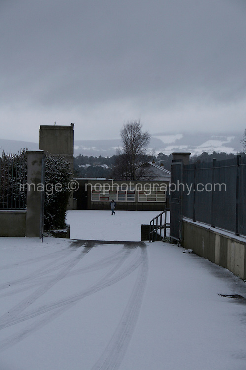 Snow covered path at Johnstown National School in Dublin Ireland