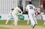 Tony Palladino bowling to Mark Cosgrove during the Specsavers County Champ Div 2 match between Leicestershire County Cricket Club and Derbyshire County Cricket Club at the Fischer County Ground, Grace Road, Leicester, United Kingdom on 27 May 2019.