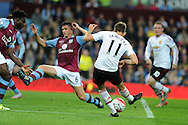Adnan Januzaj of Manchester Utd scores his teams 1st goal. Barclays Premier League match, Aston Villa v Manchester Utd at Villa Park in Birmingham, Midlands on Friday 14th August  2015.<br /> pic by Andrew Orchard, Andrew Orchard sports photography.