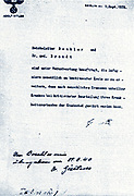 Hitler's signature on an Order authorizing involuntary euthanasia in Germany, October 1939.