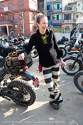 Danita Gayle in Kathmandu on Motorcycle Sherpa's Ride to the Heavens motorcycle adventure in the Himalayas of Nepal. This first day of riding took us from Kathmandu to Nuwakot. Monday, November 4, 2019. Photography ©2019 Michael Lichter.