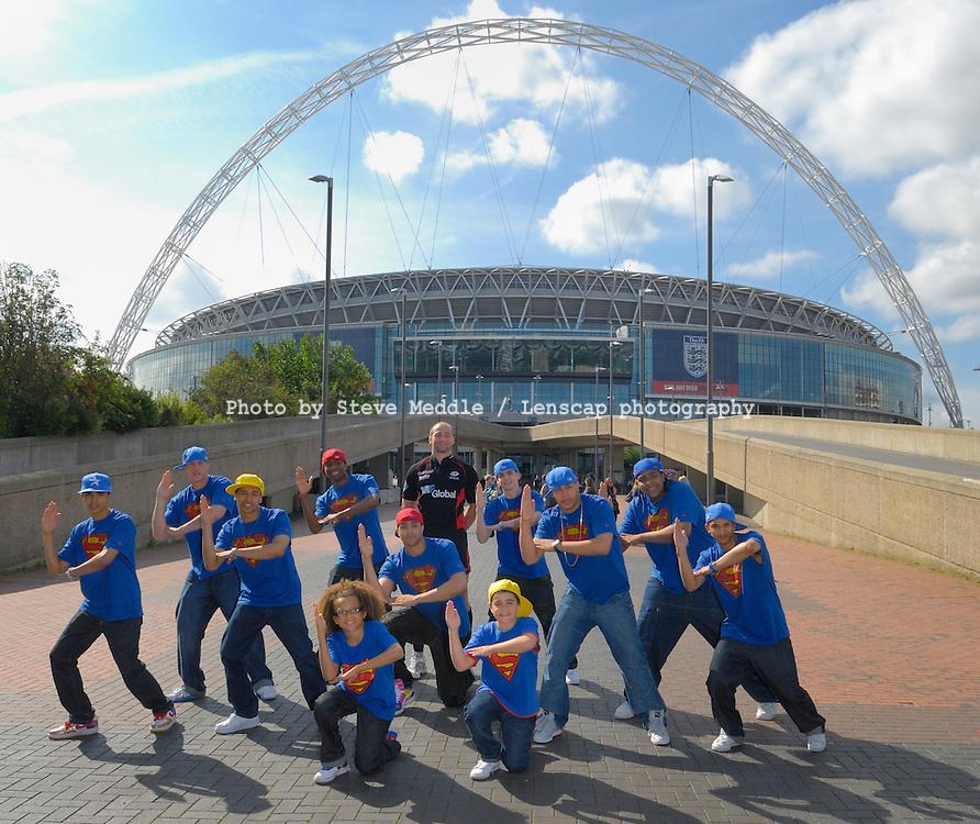 Diversity and Saracens promote Wembley Family Fun Day. Wembley, London, Britain - 18th Aug 2009..England Rugy Captain Steve Borthwick and Diversity