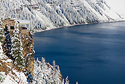 The Sinnott Memorial Overlook and Crater Lake in winter (Deepest lake in the US), Crater Lake National Park, Oregon