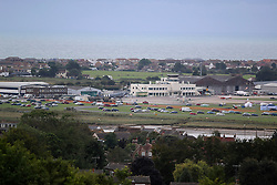 © Licensed to London News Pictures. 23/08/2015. Shoreham, UK.  Shoreham Airport where yesterday August 22nd during the Shoreham Airshow a Hawker fighter jet crashed in to cars on the A27 in front of thousands of spectators killing 7 people. Today August 23rd 2015. Photo credit : Hugo Michiels/LNP