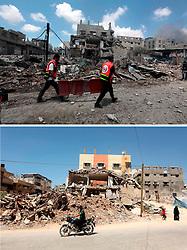 07.07.2015, Gaza city, PSE, Nahostkonflikt zwischen Israel und Palästina, Vorher und Nachher, im Bild eine Combo von zwei Bildern das obere ist im Krieg des Sommers 2014 zwischen Palästina und Israel und aufgenommen worden, das untere am 07. Juli 2015 // A combination of pictures made on July 7, 2015 shows (top) Palestinian medics try to enter Shejaia neighbourhood to evacuate injures following an Israeli air strike on July 20, 2014, in Gaza City, and the same place (bottom) on July 7, 2015, a year after the 50-day war between Israel and Hamas' militants, Palestine on 2015/07/07. EXPA Pictures © 2015, PhotoCredit: EXPA/ APAimages/ Ashraf Amra<br /> <br /> *****ATTENTION - for AUT, GER, SUI, ITA, POL, CRO, SRB only*****