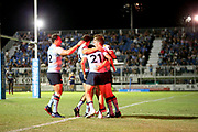 Waratahs celebrate the Newsome try. Queensland Reds v NSW Waratahs Super Rugby Trial Match. Played at Dangar Park Narrabri NSW on Friday 5 February 2021. Photo Clay Cross / photosport.nz