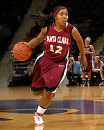 Santa Clara guard Tracey Walker drive up court against Kansas State at Bramlage Coliseum in Manhattan, Kansas, December 15, 2006.  K-State defeated Santa Clara 76-52.<br />