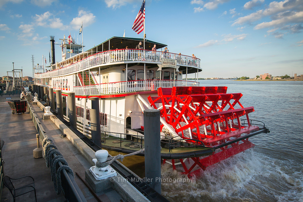 Steamboat Natchez sails for a jazz dinner cruise on the Mississippi River in New Orleans, La.