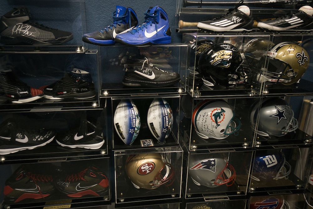 DORAL, FLORIDA, DECEMBER 11, 2015<br /> Signed and dedicated mementos in the office of Alex Vega, owner of The Auto Firm, a South Florida car customizing and restoring shop which has a vast clientele of professional athletes and entertainers. His office walls are full of mementos given to him and signed by his clients.<br /> (Photo by Angel Valentin/Freelance)