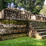 A small structure known informally as the Teotihuacan Embassy in the Tikal Maya ruins in northern Guatemala, now enclosed in the Tikal National Park.
