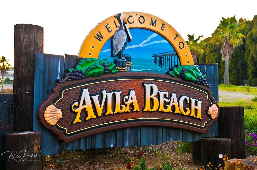 Welcome sign at Avila Beach, California USA