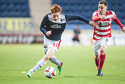 Falkirk's Scott Shepherd and Hamilton's Jon Routledge.<br /> Falkirk 1 v 1 Hamilton, Scottish Premiership play-off semi-final first leg, played 13/5/2014 at the Falkirk Stadium.
