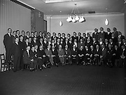 25/01/1962<br /> 01/25/1962<br /> 25 January 1962<br /> St. Brendan's College, Killarney Union Dublin Branch- Social Evening at the Grand hotel, Malahide, Co. Dublin. Picture shows the sixty-our members who attended. Front row (l-r): T. O'Connor, Secretary, Dublin Branch; Dr. M. Moriarty; Supt. T. O'Brien; Rev. D. O'Leary; C.C. Cremin; M. O'Siofhradha; M. O'Brien; P. Sugrue, President of the Union; T.J. Cahill, Chairman, Dublin Branch; Rev. Dr. P.F. Cremin; J.C. Horgan; J.J. O'Connor; P. O'Maoileoin; T. Woulfe; T. Tracey; Rev. J. McGillicuddy; E. O'Dowd.