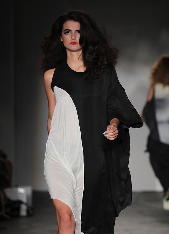 Models walk the runway for Jena Theo Spring 2012 fashion show during London Fashion Week, London, UK. 16/09/2011 Paul Blundell/CatchlightMedia